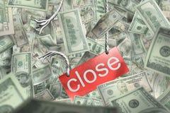 Fall und Bruch des Geldes (Dollar) fesseln Stockbilder