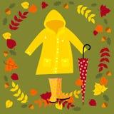 Fall vector illustration. Warm autumn set vector illustration