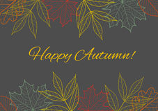 Fall vector seasonal background, border decoration with autumn l. Eaves Royalty Free Stock Photos