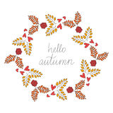 Fall Vector Vintage Hello Autumn Wreath Illustration. Colorful Fall Vector Vintage Hello Autumn Wreath Illustration with Colorful Yellow Brown Leaves, Red Roses Stock Image