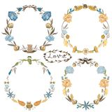 Fall Vector Wreath Set stock illustration