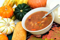 Fall Vegetables And Warm Soup Stock Images