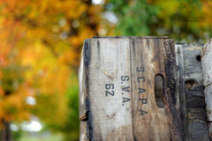 Fall in Vermont. Photo of a wooden box used for apple harvest in Vermont during fall time Stock Image