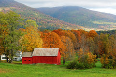 Fall in Vermont. Red Barn during fall time in Vermont Stock Photos