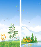 Fall vertical banners. Banners with beautiful autumn vertical landscapes Stock Images
