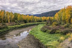 Fall by a very low river in Idaho. stock photos
