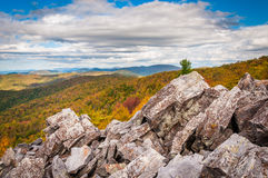 Fall view of the Blue Ridge Mountains from the boulder-covered s Stock Image