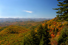 Fall Vistas. View from an overlook on the Blue Ridge Parkway in North Carolina, USA.  Fall colors were nearing their peak Royalty Free Stock Images