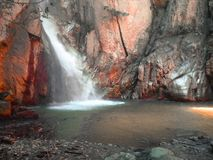 The fall waterfall in , the painting ♥ royalty free stock photo