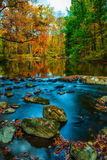 Fall Waterscape. The Fall colors along Creek Rd in Chester County PA stock photos