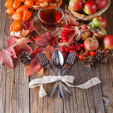 Fall wealth on rustic wooden background with fork and spoon Royalty Free Stock Photo