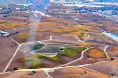 Fall-Weinberge Paso Robles angesehen von einem Flugzeug - erstaunliche Herbstfarben Lizenzfreie Stockbilder