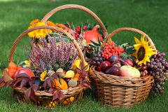 Fall wickers. Three wicker baskets with fruits, leaves and flowers Royalty Free Stock Image
