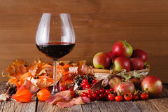 Fall wine in glass on rustic wooden background. Fall wine with harvest on rustic wooden background Stock Photography