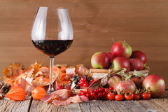Fall wine in glass on rustic wooden background. Fall wine with harvesting on rustic wooden background Stock Image