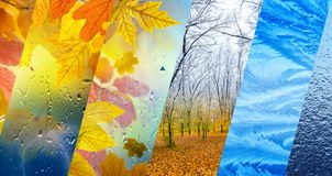 Fall and winter, weather forecast concept stock images