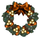 Fall/Winter Wreath. Full and leafy wreath decorated with a big 3d bow, gold snowflake patterned balls, snowflakes and wrapped ribbon. And a with space for text Royalty Free Stock Image