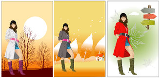 Fall woman Royalty Free Stock Photo