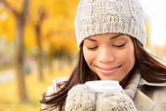 Fall woman drinking coffee Stock Photos