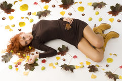 Fall woman laying downn Royalty Free Stock Photo