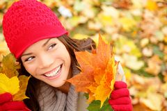 Fall woman looking Stock Image
