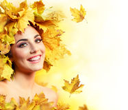 Fall Woman Smiling With Yellow Stock Image