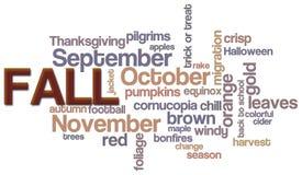 Fall Word Cloud. A word cloud with a seasonal fall theme Royalty Free Stock Photos