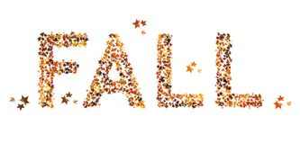 Fall word, text written in real leaf effect. seasonal, isolated on white. Royalty Free Stock Image