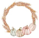 Fall wreath with pumpkins. Watercolor Thanksgiving template decorate with yellow leaves and colorful pumpkins