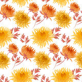 Fall yellow floral seamless pattern. Chrysanthemum repeatable motif. autumn gold flower vector illustration. elegant natural ornament Stock Images