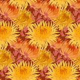 Fall yellow floral seamless pattern. Chrysanthemum repeatable motif. autumn gold flower vector illustration. elegant natural ornament Royalty Free Stock Photography