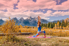 Fall Yoga in the Tetons Royalty Free Stock Photo