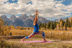 Fall Yoga in the Tetons Stock Images
