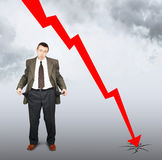 Falla av försäljningar och konkurs Arkivbilder