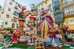 Falla in city centre during national Festival of Fallas. Valencia, Spain, March 16, 2018 Royalty Free Stock Images