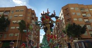 Falla de Valencia, Spain, 14-3-2017  Traveling of a sculpture of the celebrations of Valencia. Falla de Valencia, Spain,  Traveling of a sculpture of the stock footage