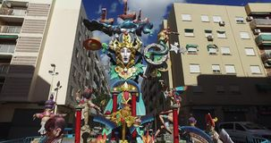 Falla de Valencia, Spain, 14-3-2017  Traveling of a sculpture of the celebrations of Valencia. Falla de Valencia, Spain,  Traveling of a sculpture of the stock video