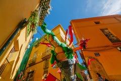Falla en centro de ciudad durante el festival nacional de Fallas Valencia, España, el 16 de marzo de 2018 Foto de archivo libre de regalías