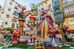 Falla en centro de ciudad durante el festival nacional de Fallas Valencia, España, el 16 de marzo de 2018 Imágenes de archivo libres de regalías