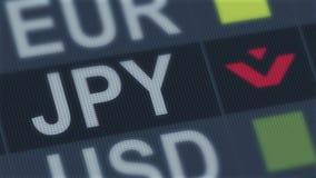 Falla för japansk yen Standard för världsutbytesmarknad finansiellt globalt för kris stock illustrationer
