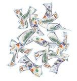 Falla hundra dollarbills Royaltyfria Bilder