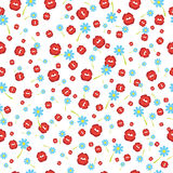 Falla kysser rött och blommor, sömlös bakgrund också vektor för coreldrawillustration Royaltyfri Foto