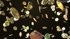 Fallande Bitcoin mynt framförande 3d Royaltyfria Bilder
