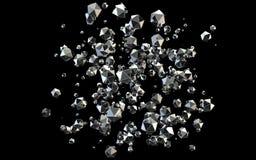 Fallande diamanter 3D på svart bakgrund stock illustrationer