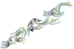 Fallande dollar Arkivbild