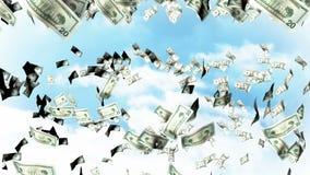 Fallande dollar från himlen arkivfilmer