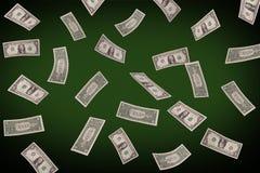 Fallande dollar på pokertabellen Royaltyfri Bild