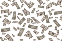 Fallande dollar på vit bakgrund Royaltyfri Foto
