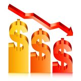Fallande dollar Rate Concept Arkivfoto