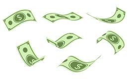 Fallande dollarsedlar, pengarregn, plan vektorillustration som isoleras på vit bakgrund vektor illustrationer